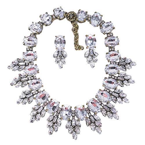 Ai.Moichien Halskette Ohrringe Einstellen Strass Schmuck Geschenke Baumeln Fallen Brautkleid Verzierte Jahrgang Kette Ovaler Schnitt Blattform Braut Party Aussage