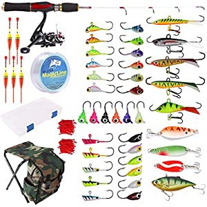 Dr.Fish Ice Fishing Rod Reel Combo Complete Kits with Backpack Seat Box Ice Jig Rap Shad Spoon Catch Ready Upgraded Version