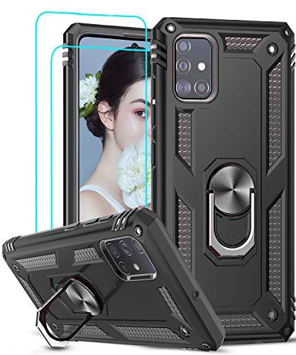 LeYi Funda Samsung Galaxy A51 con [2-Unidades] Cristal Vidrio Templado,Armor Carcasa con 360 Grados Anillo iman Soporte Hard PC y Silicona TPU Bumper Antigolpes Case para Movil A51,Negro