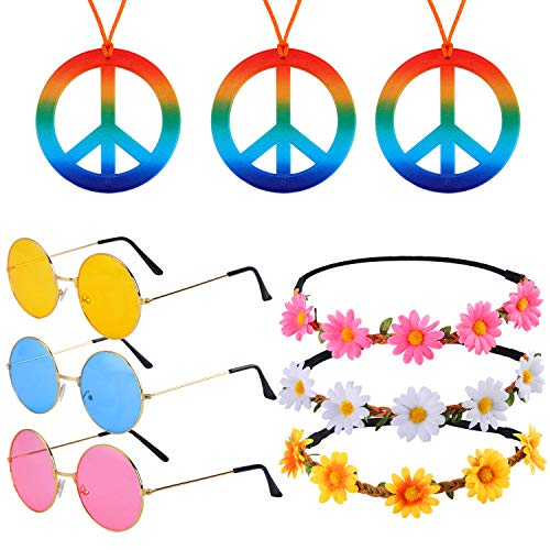 9 Pieces Hippie Dressing Accessory Set Includes 3 Pieces Hippie Glasses Retro Round Sunglasses, 3 Pieces Rainbow Peace Sign Necklaces, 3 Pieces Sunflower Headbands for Women Men