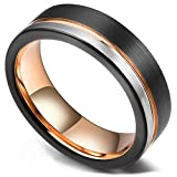 King Will Loop Tungsten Carbide Wedding Band 6mm Rose Gold Line Ring Black and Silver Brushed Comfort Fit 9