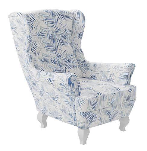 Mirjan24 Polstersessel Windsor, Ohrensessel, Sessel im englischen Stil, Ohrenbackensessel, Fernsehersessel (Botanical 80)
