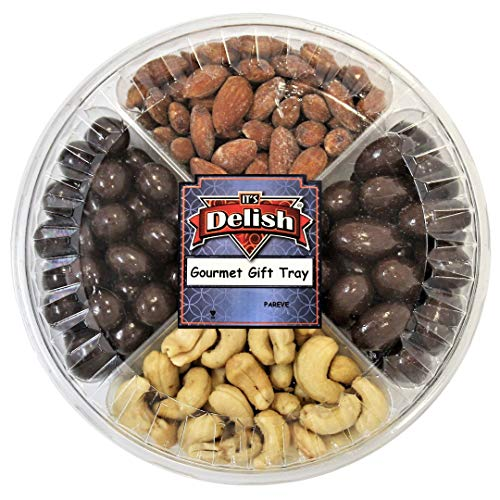 Gourmet Gift Tray 4-Section with Assorted Chocolate and Nuts by It's Delish   Christmas New Years Party Events Anniversary Birthday Hostess Kosher Gift