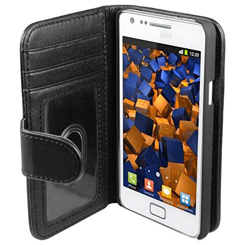 mumbi Tasche Bookstyle Case kompatibel mit Samsung Galaxy S2 Hülle Handytasche Case Wallet, schwarz