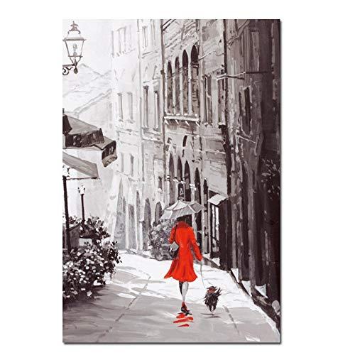 wZUN Impresión de Arte de la Pared Retro Abstracto Ciudad lluviosa Calle Paisaje Cartel Pintura al óleo sobre Lienzo Imagen de la Sala de Estar Moderna 50X70cm