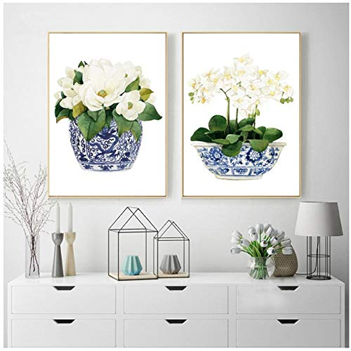 Zhaoyangeng Wit Orchidee & Magnolia Watercolor Chinoiserie Decor Canvas Print Oosterse Vaas Blauw Wit Wilg Stijl Bloempot - 40X50Cmx2 Geen Frame