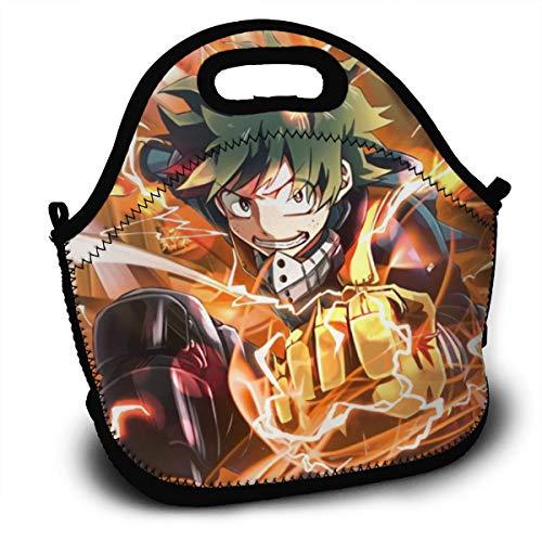 Neoprene Lunch Bag Insulated Funny Animal Lunch Backpack Lunchbox Handbag with Zipper Best Gift for Men Women Teen Boys Girls - My Hero Academia Deku Izuku Midoriya