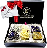 Bio Badepralinen 6er Geschenkset - Ideale Geschenk Idee für die Frau - Höchste Qualität von SatinNaturel - Vegane Badekugeln in hochwertiger Geschenkbox mit Satin Ausbettung + Schleife