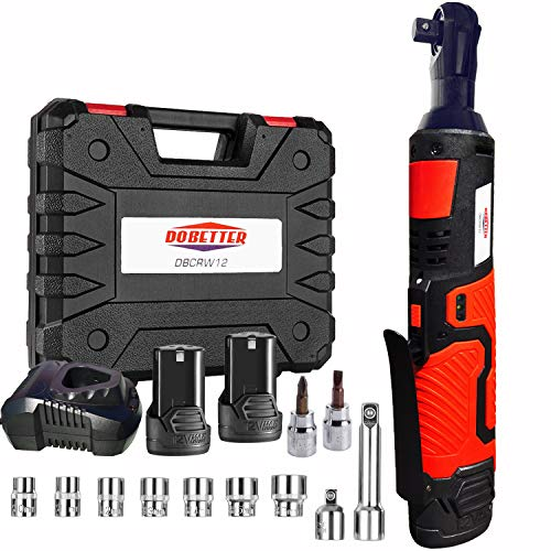 3/8' Cordless Electric Ratchet Wrench Set, Dobetter 40 Ft·lb Power Ratchet Tool with (2) 2 Ah Lithium-Ion Batteries, 7 Sockets, 2 Screwdrivers, 1 Extender, 1/4' Adapter, 1 Quick Charger -DBCRW12