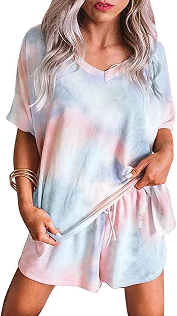 LuckyMore Pajama Set for Women Short Sleeve V Neck Tie Dye Loungewear Outfits 2 Piece Sleepwear Nightwear Pjs