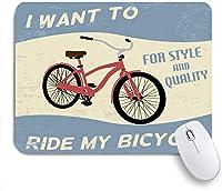 ECOMAOMI 可愛いマウスパッド 自転車ヴィンテージグランジポスター 滑り止めゴムバッキングマウスパッドノートブックコンピュータマウスマット