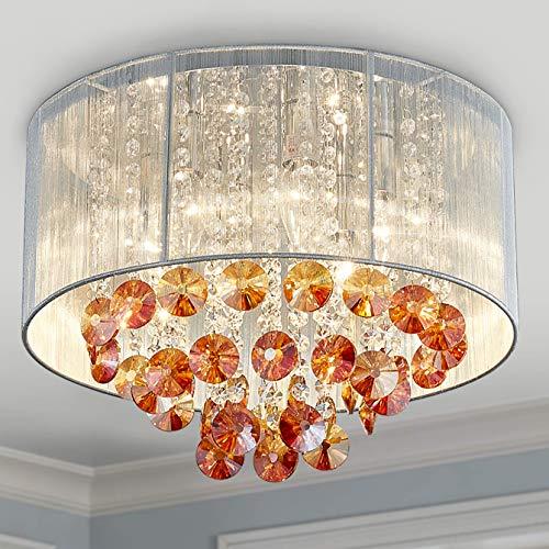 Moderne Anhänger Kronleuchter Kristall Regentropfen Beleuchtung Deckenleuchte Lampe für Esszimmer Badezimmer Schlafzimmer Wohnzimmer 4 G9 Glühbirnen Erforderlich D45cm x H50cm