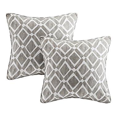 Delray Diamond Printed Modern Throw Pillow, Contempoary Square Fashion Cotton Decorative Pillow, 20X20, Set of 2, Grey
