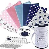 tissu coton + 5m elastique couture + 10 pont de nez, tissus coton - lavable jusqu'à 95°C, tissus au metre, tissus pour couture 7pc. 20x40cm, tissu coton au metre, set4