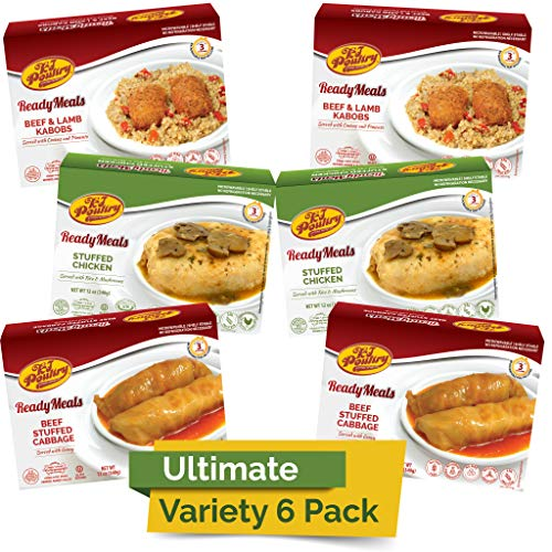 Kosher MRE Meat Meals Ready to Eat (6 Pack Ultimate Variety - Beef & Chicken) - Prepared Entree Fully Cooked, Shelf Stable Microwave Dinner – Travel, Military, Camping, Emergency Survival Protein Food