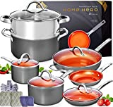Home Hero Copper Pots and Pans Set - 13pc Copper Cookware Set Copper Pan Set Ceramic Cookware Set Ceramic Pots and Pans Set Nonstick Induction Cookware Sets Pot and Pan Set Nonstick Cookware Set