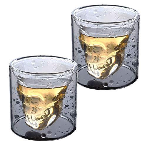 HwaGui Totenkopf Whiskeygläser 2 x 100ml Schnapsglas Doppelwandig Isoliert Transparent Schädel für Whisky Vodka Bier 3.5oz 2er-Set