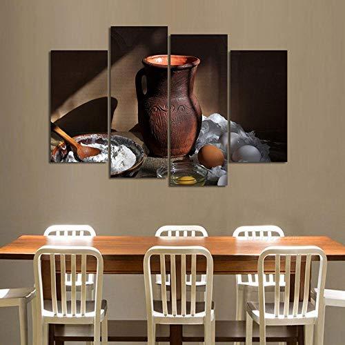 ANTAIBM® 4 Wandkunst-Malplakat Holzrahmen - verschiedene Größen - verschiedene Stile4 Bild Marmelade und Essen und Tasse moderne Leinwanddruck Malerei Wandkunst Bild für Küche Raumdekoration Kunstwerk