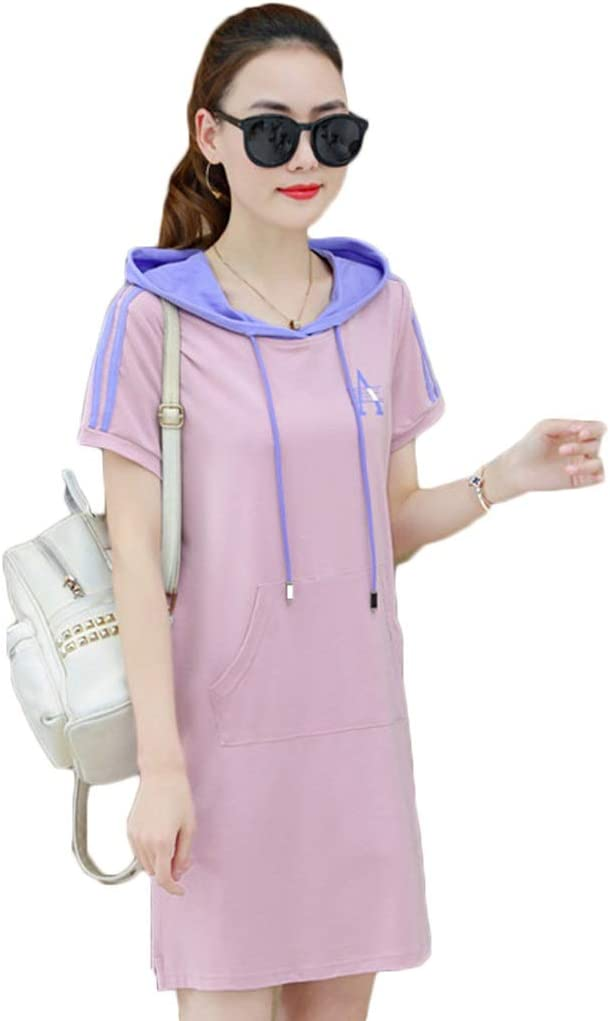 Dongjiguang Dress Dress Hooded Loose Short-Sleeved Sports T-Shirt A-line Skirt 5 Colors 5 Sizes (Color : D, Size : XXL)