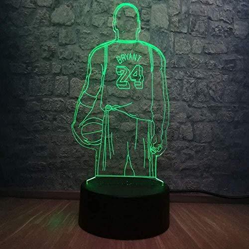 Lámpara De Mesa De Ilusión 3D Movimiento Del Jugador De Baloncesto 7 Cambio De Color Tablero De Degradado Lámpara De Mesa Decoración Del Dormitorio Control Remoto De 7 Colores