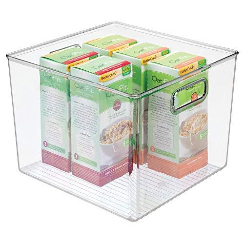 mDesign Caja de Almacenamiento para la Nevera – Organizador de plástico para Fruta, conservas, medicinas y más – Cajas organizadoras Grandes de plástico sin BPA para Cocina y despensa – Transparente