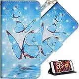 HMTECH LG K50 Hülle,Für LG Q60 / LG K50 Handyhülle Luxus 3D Blau Schmetterling Flip Hülle PU Leder Cover Magnet Schutzhülle Tasche Handytasche für LG Q60 / LG K50,YX Blue Butterfly