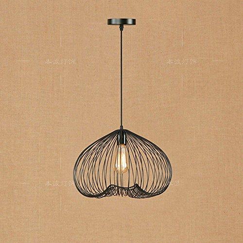 Fil réglable lampe industrielle rétro vintage en métal en fer forgé pendentif éclairage E27 Edison suspension lampe cage (Taille : Style C)