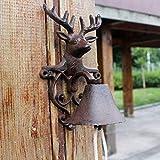 ZHTY Doorbell Front Bell European and American Village Vintage Cast Iron Wrought Iron Manual doorbell Wall Bell Hand Crank Door Bell Outdoor Courtyard Garden Deer Head Manual doorbell Doorstop