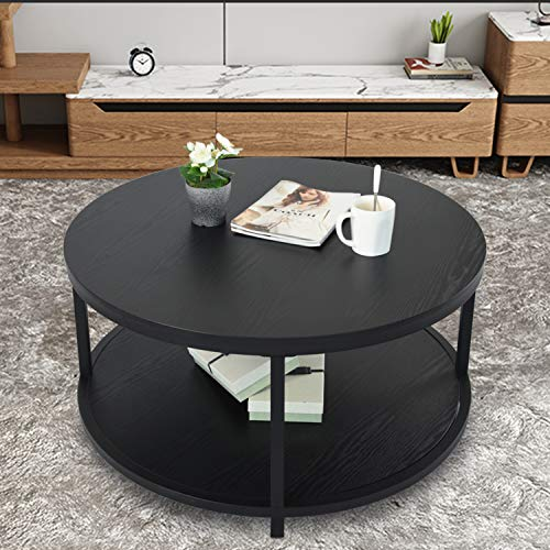 NSdirect Round Coffee Table, 36 inch Rustic Wooden Surface Top & Sturdy Metal Legs Industrial Sofa Table for Living Room Modern Design Home Furniture with Storage Open Shelf (Black)