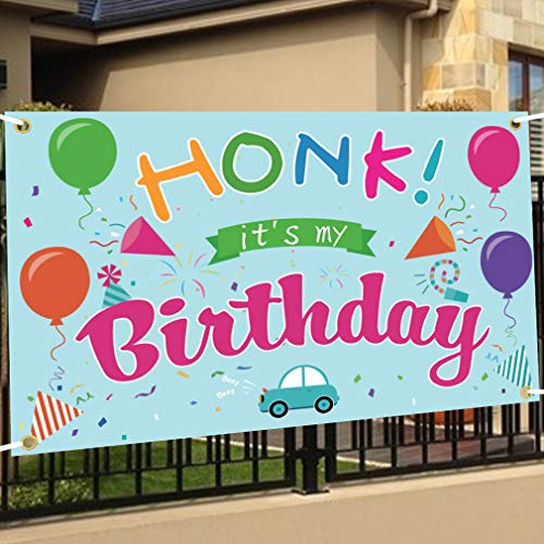 Golray Happy Birthday Yard Sign - HONK IT'S My Birthday Banner Yard Sign Quarantine Banner, 71' X 43' Satin Indoor Room Backdrop Outdoor Lawn Sign Flag Quarantine Bday Decor for Kids