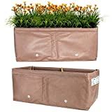 BloemBagz (2 Pack) Collapsible Fabric Raised Rectangular Box Garden Planter for Outdoor Plants