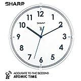 シャープ アトミック アナログ 壁掛け時計 - 10.5インチ 吊り下げガラス面 電波時計 - 自動設定 - 読みやすい - タイムゾーンに自動的に更新 - 日中の節約に