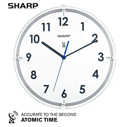 "Sharp Atomic Analog Wall Clock – 10.5"" Suspended Glass Face Atomic Clock - Sets Automatically - Easy to Read – Updates Automatically to Time..."