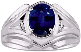 RYLOS Mens Ring with Oval Shape Gemstone & Genuine Sparkling Diamonds in Sterling Silver .925-9X7MM Color Stone
