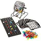 Deluxe Bingo Set - 6-Inch Roller Cage, Master Board, 75 Multicolored Balls, 300 Chips, & 50 Cards - Classic Fun & Party Games for Kids, Seniors, & Family