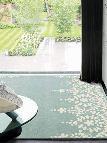 Benuta Wollteppich Matrix Guild Blau 160x230 cm/Naturfaserteppich für Wohnzimmer und Schlafzimmer