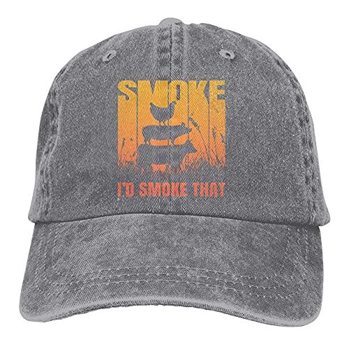 Gymini Gorra unisex con diseño de camionero con texto en inglés 'I d Smoke That-1, gorra de béisbol ajustable, color gris