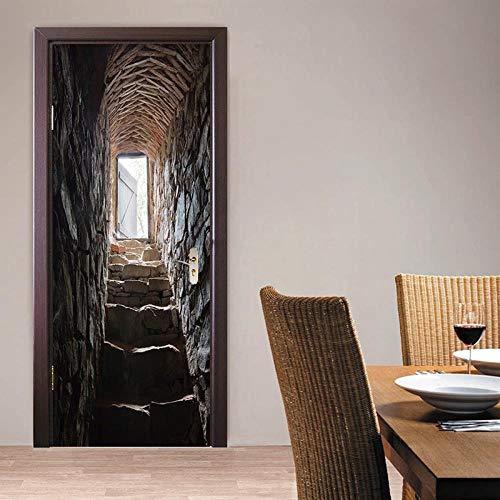 BXZGDJY deurbehang tunnel 90 x 200 cm deurbehang zelfklevend deurposter, zelfklevende 3D-deur-raam-behang- aftrekplaatjes, verwijderbare deur-decor-plakaat muursticker voor doe-het-zelf, deurbehang