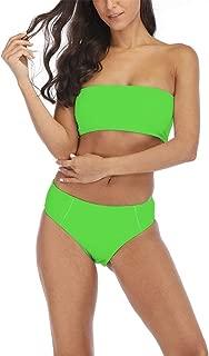 Women High Cut Bandeau Tropical Leaf Printed Strapless Swimsuits Bikini Set