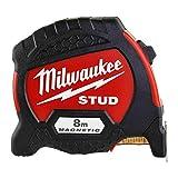 Milwaukee 4932471627 Stud Magnetic Premium Tape Measure Metric 8M-4932471627, Red