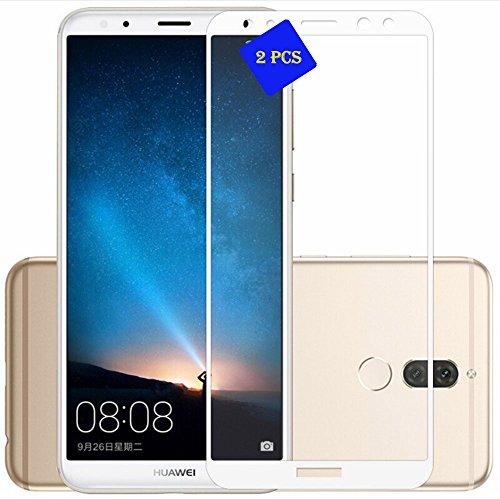 GOGME Huawei Mate 10 Lite Schutzfolie 0.33mm 2.5D Kanten, 9H Festigkeit Gehärtetes Bruchsicheres Glas Effektivste Schutz des Displays, Weiß 2pcs