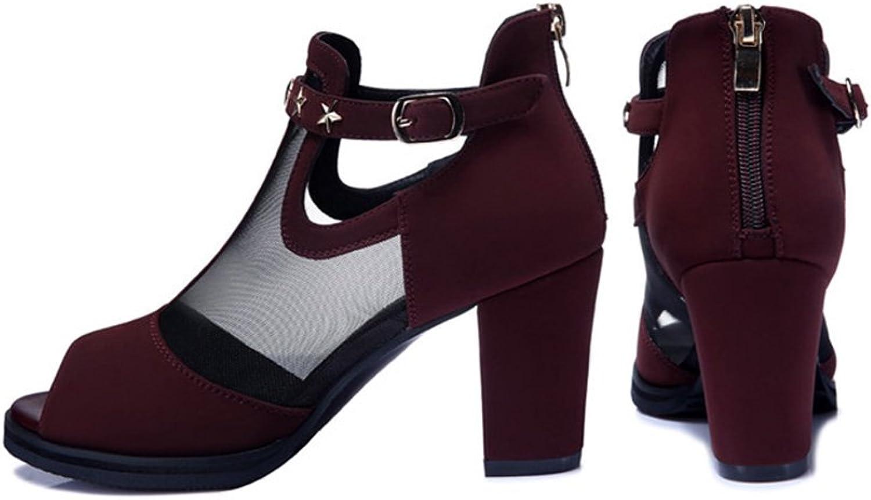 Sandals Net Yarn Single shoes Sandals 8cm High Heels Summer Lady (color   B, Size   EU35 UK3 CN34)