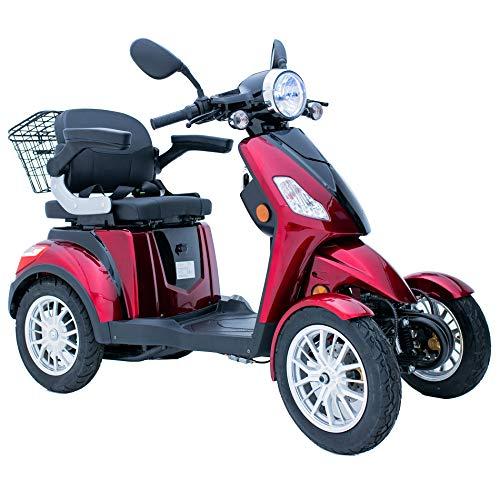 Green Power - Scooter de movilidad eléctrica con 4 ruedas para adultos Trike con accesorios adicionales: funda impermeable para scooter de movilidad, soporte para teléfono, soporte para botell