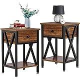 VECELO Modern Night Stand Drawer Versatile Nightstands Lamp Side/End Storage Shelf Table for Living Room Bedroom, Brown/Set of 2