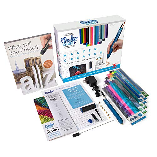 3Doodler Create+ 3D Printing Pen for Teens, Adults & Creators! - Marine Blue (2019 Model, Master Creators Set) - with Free Refi Filaments + Bookend Canvas + Project Book + 6 Nozzles + DoodlePad