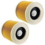 Sweet D - Cartuccia filtrante lavabile per aspirapolvere Kärcher WD2.200 WD3.500 A2004, filtro umido e asciutto, giallo, 2 paia