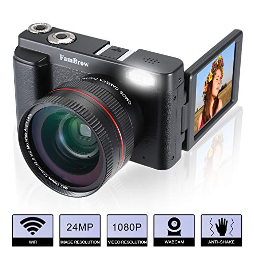 Camara Foto Digital Full HD 1080P,FamBrow WiFi 24MP Camara de Video Digital Zoom 16x,Gran Angular Lente Rotación de 3.0 Pulgadas