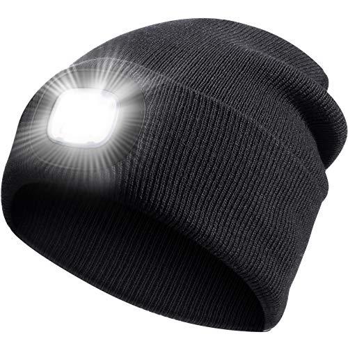 LED Beleuchtete Mütze Hut für Kinder, Winter Warm Gestrickte Taschenlampe Hut, LED Hut Licht Stirnlampen Taschenlampe zum Wandern, Radfahren, Angeln, Camping, Geschenke für Jungen Mädchen