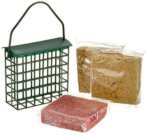 dobar Sechs proteinreiche Energieblöcke Fettblöcke inklusive 2 gratis Futterspender zum Aufhängen, ganzjähriges Vogelfutter Fettfutter für Wildvögel, 1er Pack (1 x 1.8 kg)