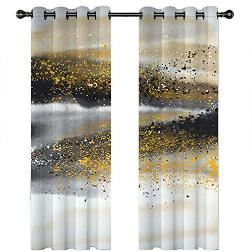 Knbob Polyester Vorhänge Schwarz Weiß Gelb Abstrakte Malerei Gardinen für Die Küche Größe 274x244CM